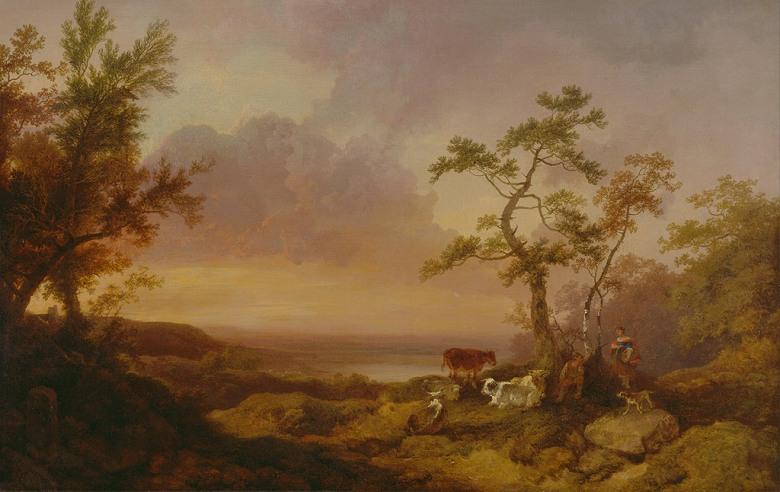 油絵 油彩画 絵画 複製画 フィリップ・ジェイムズ・ド・ラウザーバーグ 牛と農民のいる風景 M10サイズ M10号 530x333mm すぐに飾れる豪華額縁付きキャンバス
