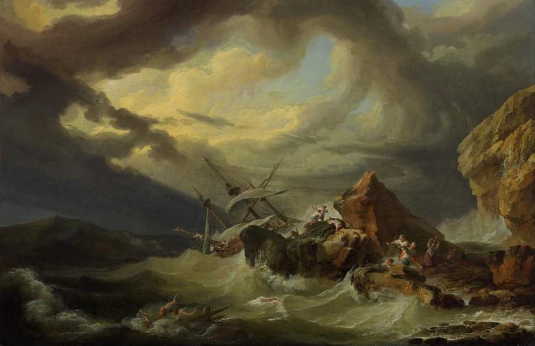 絵画 インテリア 額入り 壁掛け複製油絵フィリップ・ジェイムズ・ド・ラウザーバーグ 岩石海岸での難破船 M20サイズ M20号 727x500mm 絵画 インテリア 額入り 壁掛け 油絵