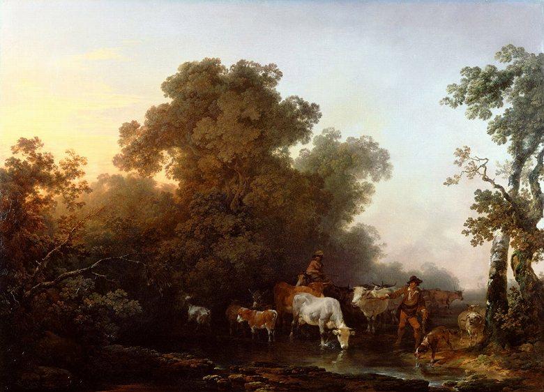 フィリップ・ジェイムズ・ド・ラウザーバーグ 牛と人物のいる風景 P30サイズ P30号 910x653mm 条件付き送料無料 絵画 インテリア 額入り 壁掛け複製油絵フィリップ・ジェイムズ・ド・ラウザーバーグ