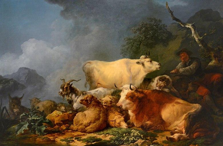 絵画 インテリア 額入り 壁掛け複製油絵フィリップ・ジェイムズ・ド・ラウザーバーグ 動物のいる風景 M20サイズ M20号 727x500mm 絵画 インテリア 額入り 壁掛け 油絵