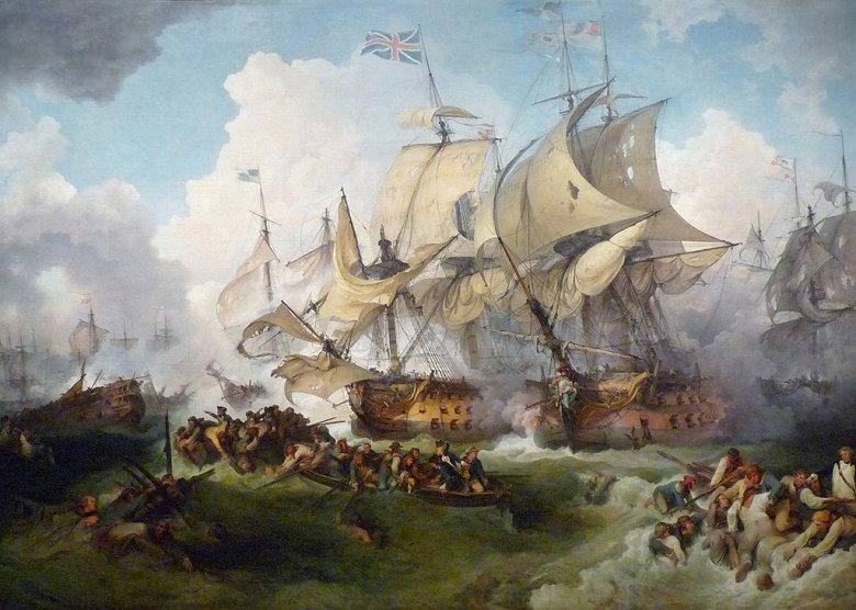 油絵 油彩画 絵画 複製画 フィリップ・ジェイムズ・ド・ラウザーバーグ ハウ卿の戦い(栄光の6月1日) P10サイズ P10号 530x410mm すぐに飾れる豪華額縁付きキャンバス