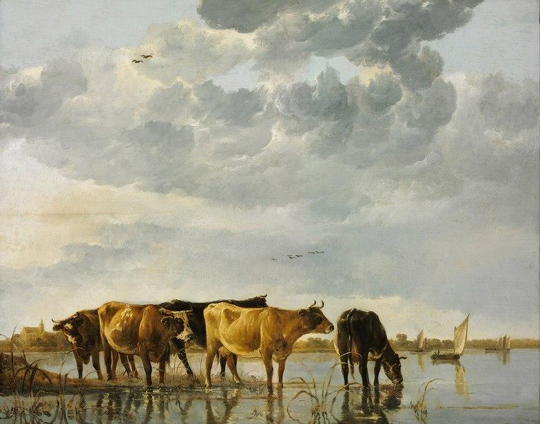 絵画 インテリア 額入り 壁掛け複製油絵アルベルト・カイプ 川にいる牛 F15サイズ F15号 652x530mm 油彩画 複製画 選べる額縁 選べるサイズ