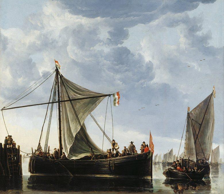 油絵 油彩画 絵画 複製画 アルベルト・カイプ 渡し船 F10サイズ F10号 530x455mm すぐに飾れる豪華額縁付きキャンバス