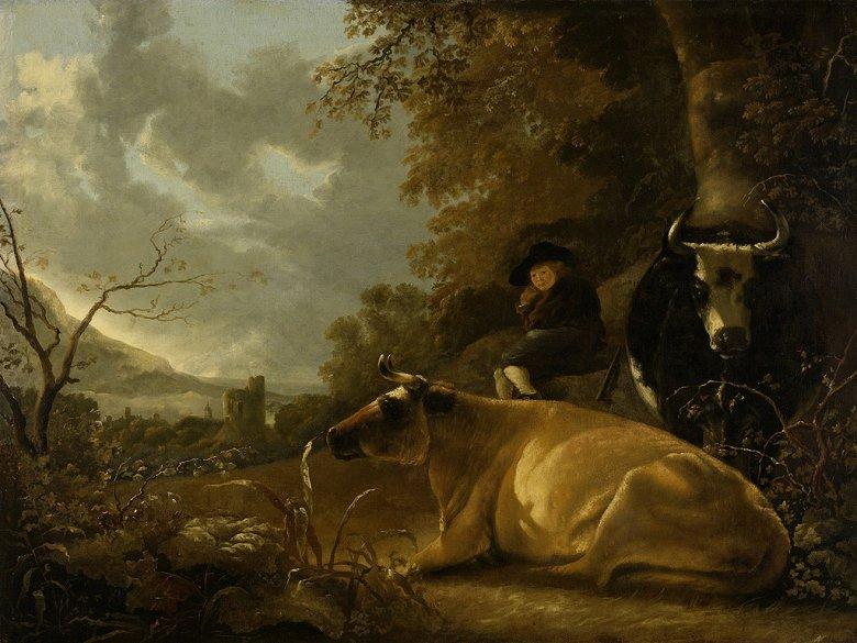 アルベルト・カイプ 牛と若い牧人の風景 P30サイズ P30号 910x653mm 条件付き送料無料 絵画 インテリア 額入り 壁掛け複製油絵アルベルト・カイプ