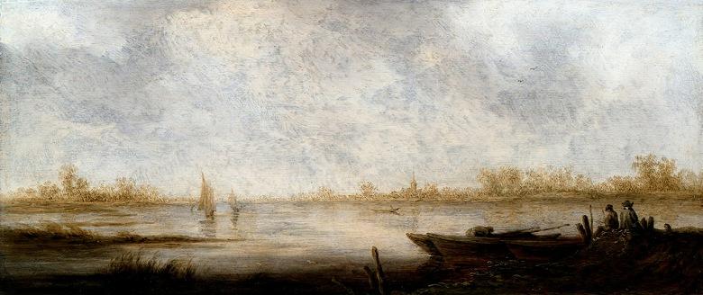 油絵 アルベルト・カイプ 川の風景 F12サイズ F12号 606x500mm 油彩画 絵画 複製画 選べる額縁 選べるサイズ