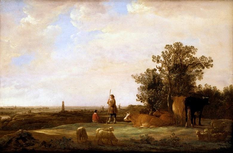 絵画 インテリア 額入り 壁掛け複製油絵アルベルト・カイプ 平野の風景 M20サイズ M20号 727x500mm 絵画 インテリア 額入り 壁掛け 油絵