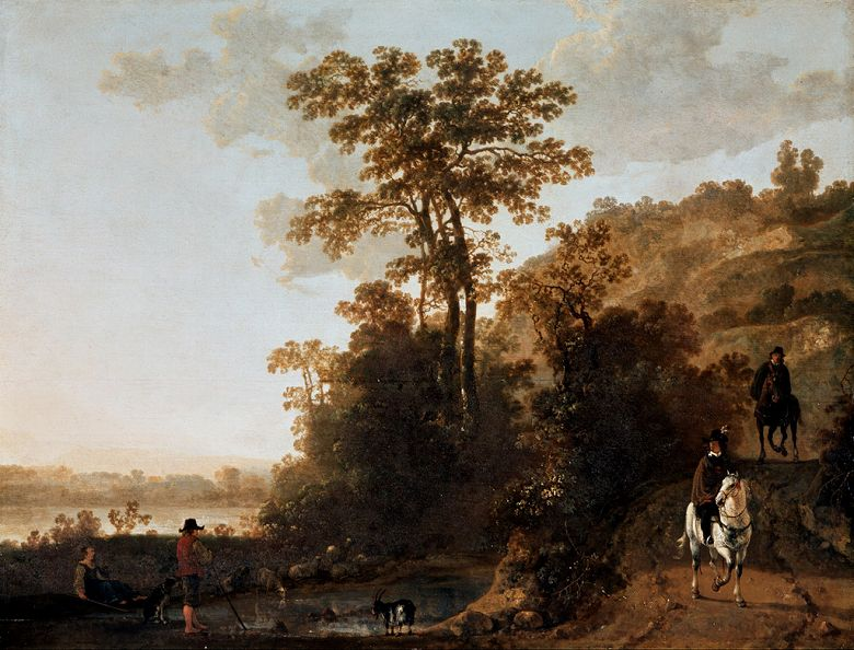 油絵 油彩画 絵画 複製画 アルベルト・カイプ 川辺を通る夕暮れの騎手 F10サイズ F10号 530x455mm すぐに飾れる豪華額縁付きキャンバス