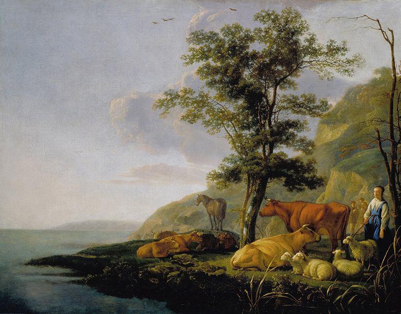 油絵 油彩画 絵画 複製画 アルベルト・カイプ 川辺の牛 F10サイズ F10号 530x455mm すぐに飾れる豪華額縁付きキャンバス
