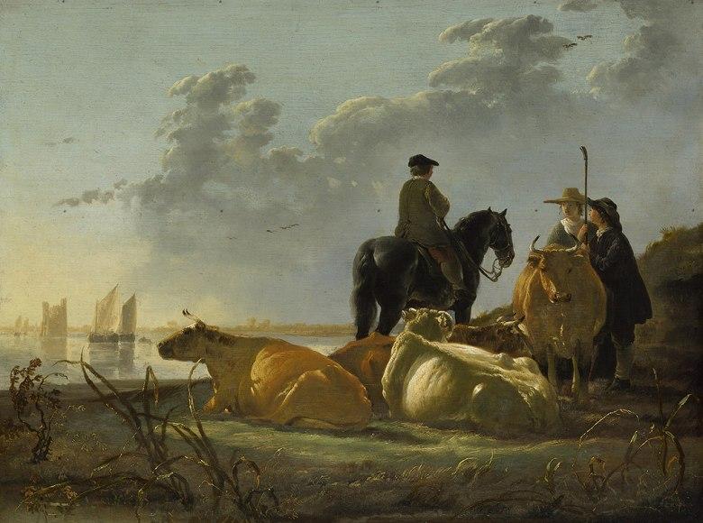 絵画 インテリア 額入り 壁掛け複製油絵アルベルト・カイプ メルヴェ川の傍にいる農民と牛 P20サイズ P20号 727x530mm 絵画 インテリア 額入り 壁掛け 油絵