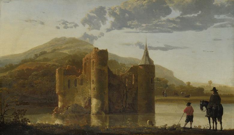 油絵 油彩画 絵画 複製画 アルベルト・カイプ ウーブベーゲンの城 F10サイズ F10号 530x455mm すぐに飾れる豪華額縁付きキャンバス