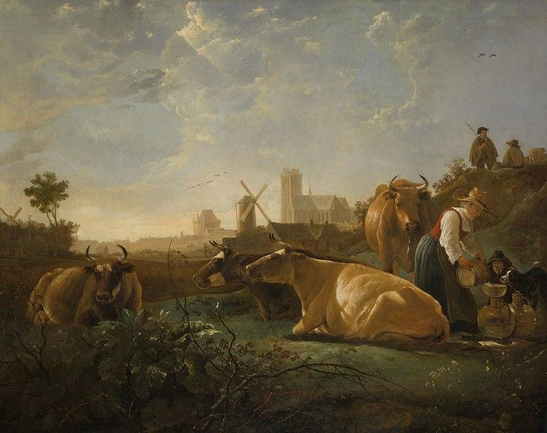油絵 油彩画 絵画 複製画 アルベルト・カイプ ドルトレヒト F10サイズ F10号 530x455mm すぐに飾れる豪華額縁付きキャンバス