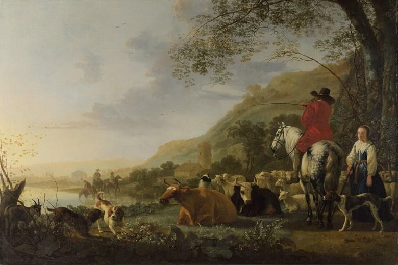 アルベルト・カイプ 人物と丘陵の風景 M30サイズ M30号 910x606mm 条件付き送料無料 絵画 インテリア 額入り 壁掛け複製油絵アルベルト・カイプ