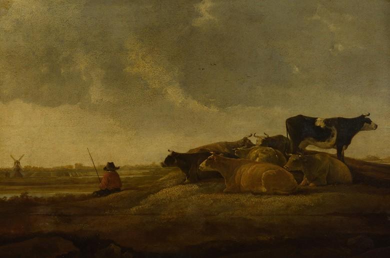 絵画 インテリア 額入り 壁掛け複製油絵アルベルト・カイプ 川の傍の牧人と七匹の牛 M20サイズ M20号 727x500mm 絵画 インテリア 額入り 壁掛け 油絵