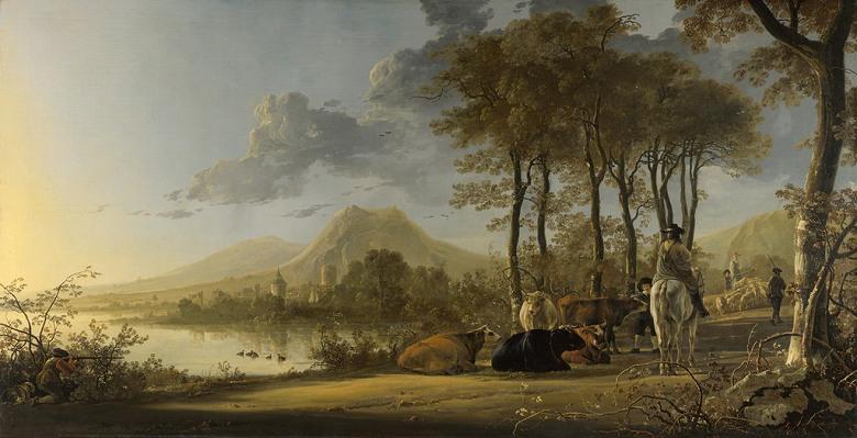 絵画 インテリア 額入り 壁掛け複製油絵アルベルト・カイプ 騎馬人物と農民のいる川辺の風景 F15サイズ F15号 652x530mm 油彩画 複製画 選べる額縁 選べるサイズ