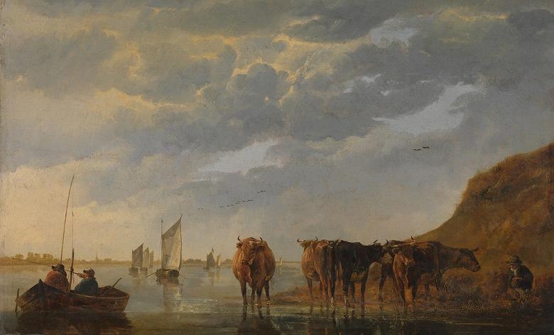 絵画 インテリア 額入り 壁掛け複製油絵アルベルト・カイプ 川の傍の牧人と五匹の牛 M20サイズ M20号 727x500mm 絵画 インテリア 額入り 壁掛け 油絵