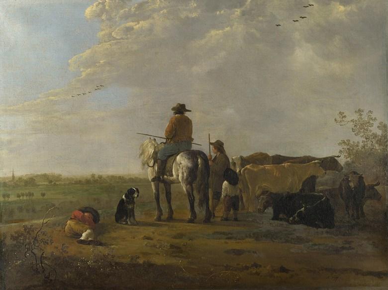 油絵 油彩画 絵画 複製画 アルベルト・カイプ 騎手と牧人と牛のいる風景 P10サイズ P10号 530x410mm すぐに飾れる豪華額縁付きキャンバス