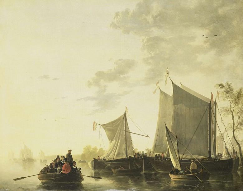 油絵 油彩画 絵画 複製画 アルベルト・カイプ 川の風景 F10サイズ F10号 530x455mm すぐに飾れる豪華額縁付きキャンバス