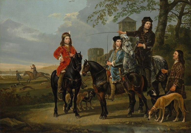 油絵 油彩画 絵画 複製画 アルベルト・カイプ 狩りの開始 P10サイズ P10号 530x410mm すぐに飾れる豪華額縁付きキャンバス