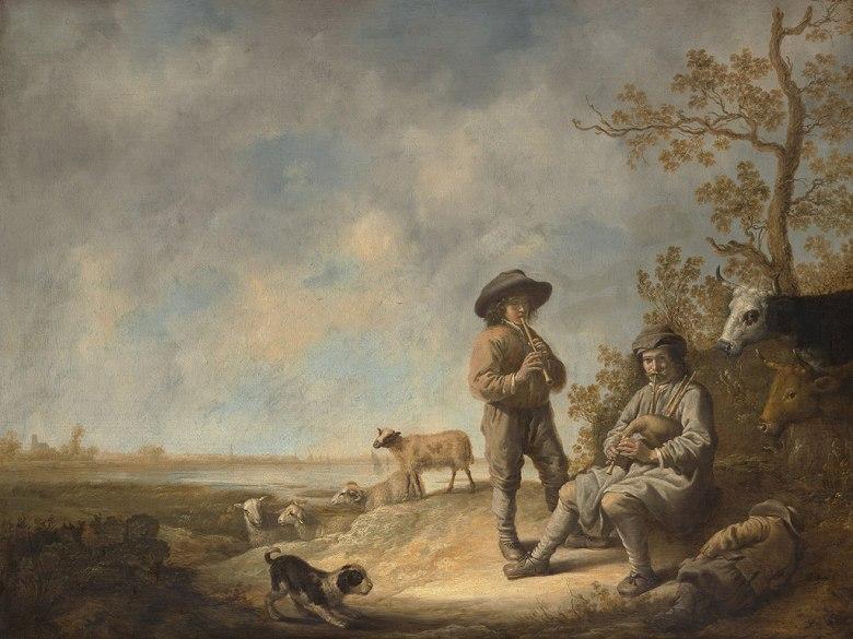 油絵 油彩画 絵画 複製画 アルベルト・カイプ 笛を吹く羊飼い P10サイズ P10号 530x410mm すぐに飾れる豪華額縁付きキャンバス