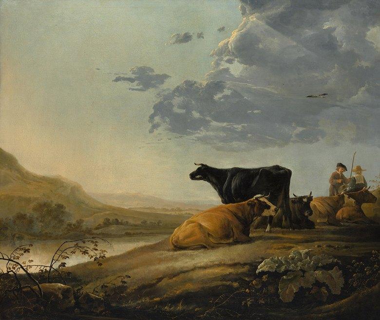 アルベルト・カイプ 若い牧人と牛 F30サイズ F30号 910x727mm 条件付き送料無料  額縁付絵画 インテリア 額入り 壁掛け複製油絵アルベルト・カイプ