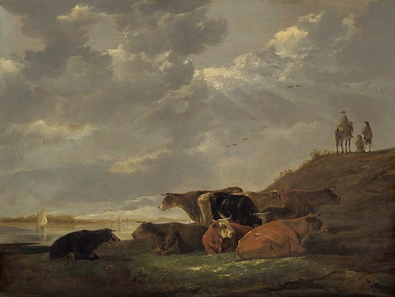 油絵 油彩画 絵画 複製画 アルベルト・カイプ 牛のいる川の風景 P10サイズ P10号 530x410mm すぐに飾れる豪華額縁付きキャンバス