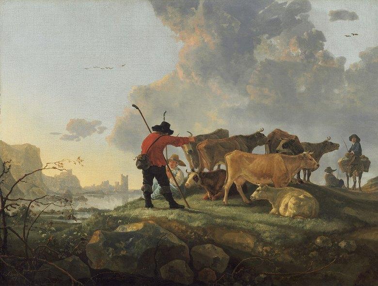 絵画 インテリア 額入り 壁掛け複製油絵アルベルト・カイプ 牛の世話をする牧人 P20サイズ P20号 727x530mm 絵画 インテリア 額入り 壁掛け 油絵