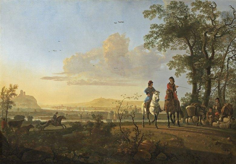 油絵 油彩画 絵画 複製画 アルベルト・カイプ 騎手と牧人と牛 P10サイズ P10号 530x410mm すぐに飾れる豪華額縁付きキャンバス
