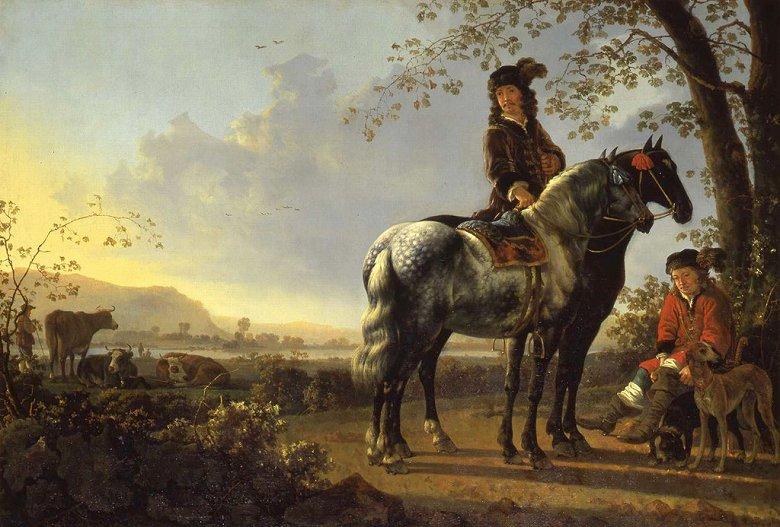 油絵 油彩画 絵画 複製画 アルベルト・カイプ 休憩する騎手たちのいる風景 P10サイズ P10号 530x410mm すぐに飾れる豪華額縁付きキャンバス
