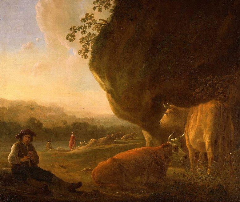 絵画 インテリア 額入り 壁掛け複製油絵アルベルト・カイプ 笛を吹く牧人と牛のいる風景 F15サイズ F15号 652x530mm 油彩画 複製画 選べる額縁 選べるサイズ
