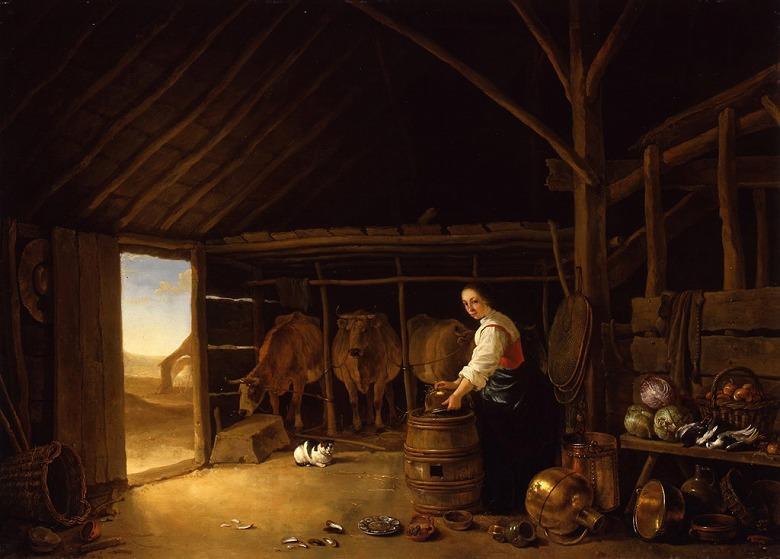 【送料無料】絵画 油彩画複製油絵複製画/アルベルト・カイプ 牛舎 P8サイズ P8号 455x333mm すぐに飾れる豪華額縁付きキャンバス