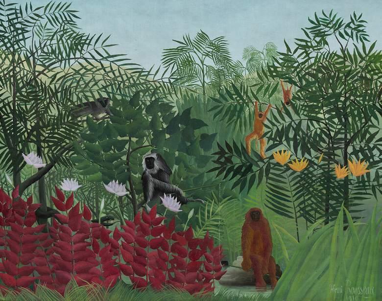 絵画 インテリア 額入り 壁掛け複製油絵アンリ・ルソー 猿のいる熱帯林 F15サイズ F15号 652x530mm 油彩画 複製画 選べる額縁 選べるサイズ