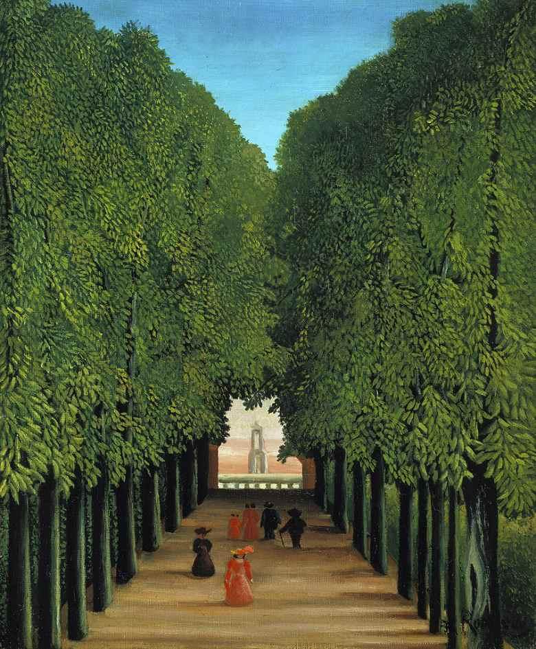 絵画 インテリア 額入り 壁掛け複製油絵アンリ・ルソー サン=クルーの公園の中の並木道 F15サイズ F15号 652x530mm 油彩画 複製画 選べる額縁 選べるサイズ