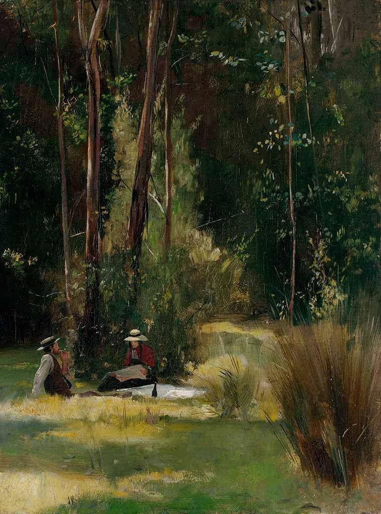油絵 油彩画 絵画 複製画 トム・ロバーツ 日曜の午後 P10サイズ P10号 530x410mm すぐに飾れる豪華額縁付きキャンバス