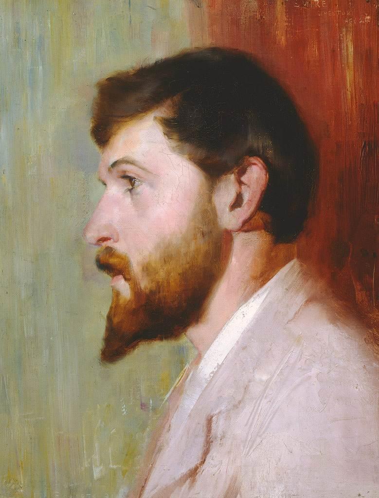 油絵 油彩画 絵画 複製画 トム・ロバーツ 男性の肖像 F10サイズ F10号 530x455mm すぐに飾れる豪華額縁付きキャンバス