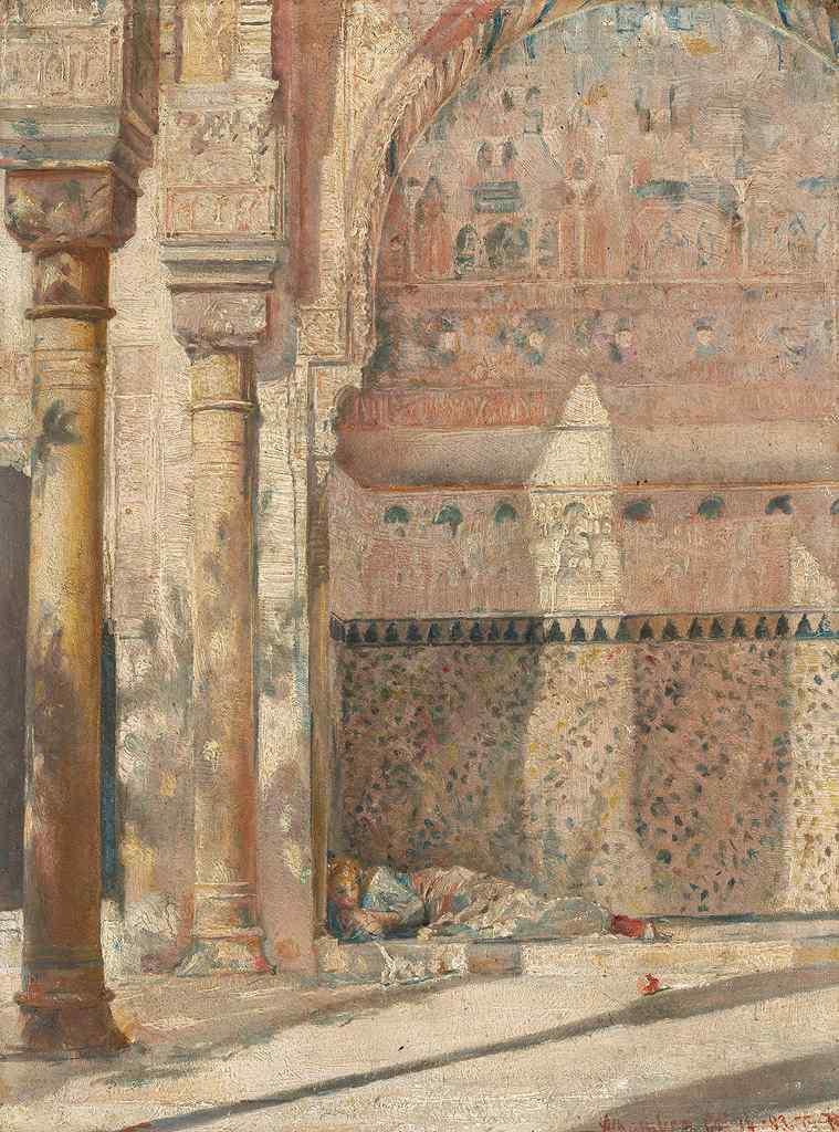 トム・ロバーツ 日向ぼっこ(アルハンブラ宮殿の一角) P30サイズ P30号 910x653mm 条件付き送料無料 絵画 インテリア 額入り 壁掛け複製油絵トム・ロバーツ
