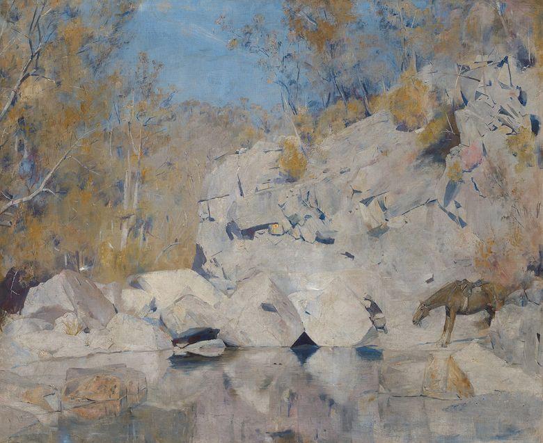 絵画 インテリア 額入り 壁掛け複製油絵トム・ロバーツ マキンタイア川の一角 F20サイズ F20号 727x606mm 絵画 インテリア 額入り 壁掛け 油絵