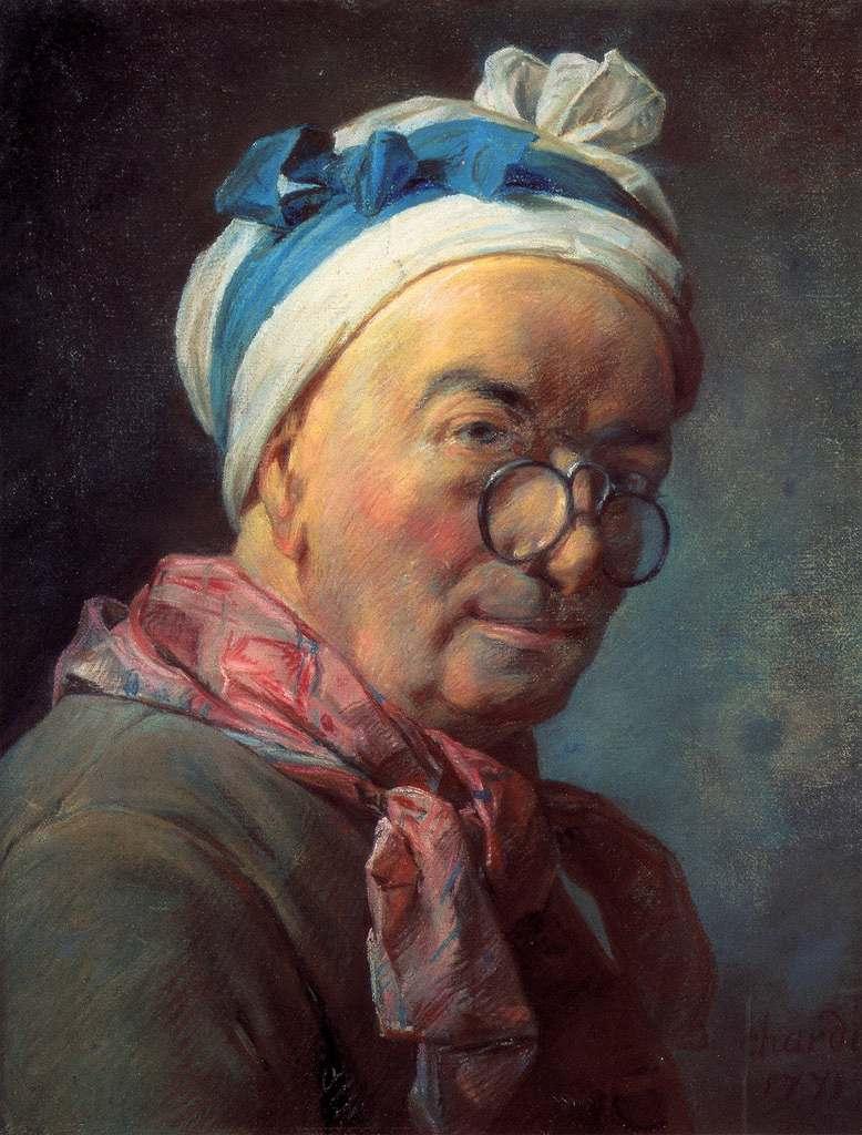 油絵 油彩画 絵画 複製画 ジャン・シメオン・シャルダン 眼鏡を掛けた自画像 P10サイズ P10号 530x410mm すぐに飾れる豪華額縁付きキャンバス
