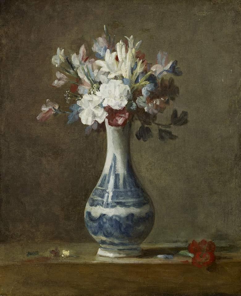 ジャン・シメオン・シャルダン 白い花瓶の花 F30サイズ F30号 910x727mm 条件付き送料無料  額縁付絵画 インテリア 額入り 壁掛け複製油絵ジャン・シメオン・シャルダン