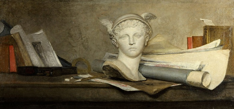 絵画 インテリア 額入り 壁掛け複製油絵ジャン・シメオン・シャルダン 芸術の象徴のある静物 F15サイズ F15号 652x530mm 油彩画 複製画 選べる額縁 選べるサイズ