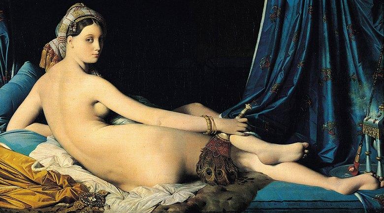 油絵 油彩画 絵画 複製画 ドミニク・アングル グラン・オダリスク(横たわるオダリスク) F10サイズ F10号 530x455mm すぐに飾れる豪華額縁付きキャンバス