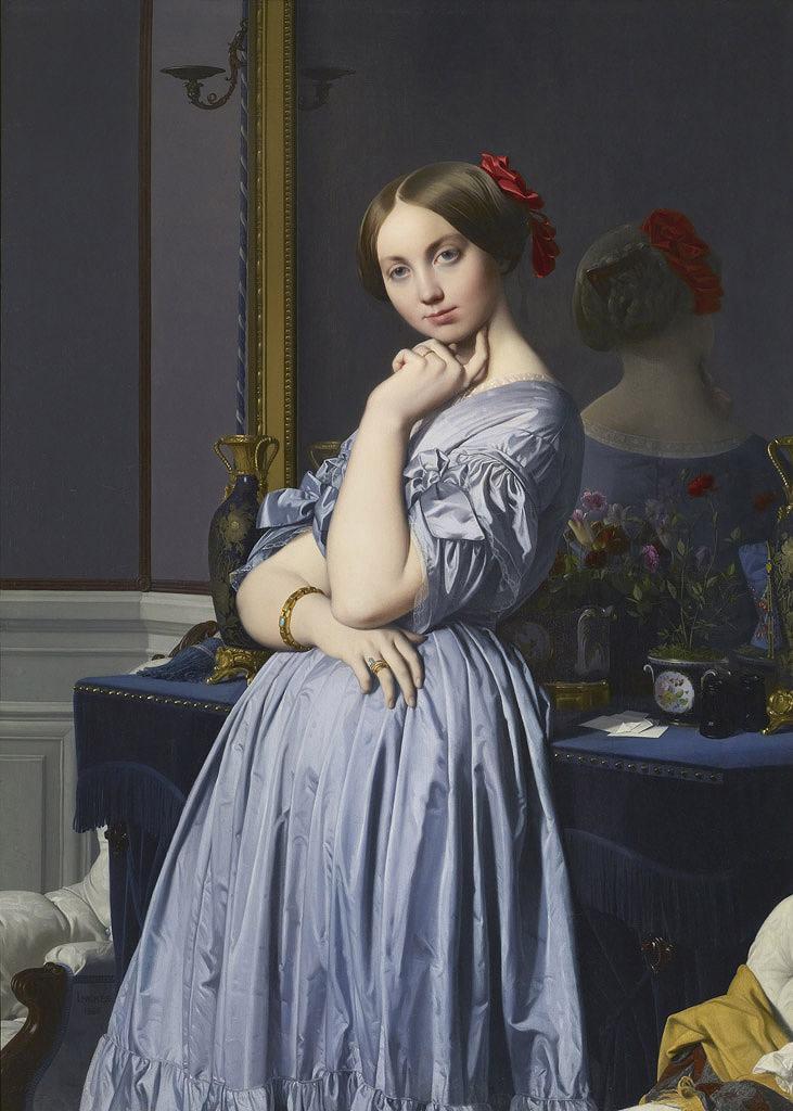 油絵 油彩画 絵画 複製画 ドミニク・アングル ドーソンヴィル伯爵夫人の肖像 P10サイズ P10号 530x410mm すぐに飾れる豪華額縁付きキャンバス