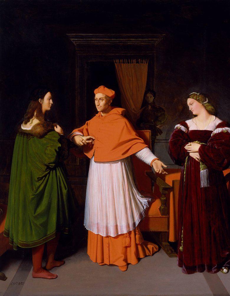絵画 インテリア 額入り 壁掛け複製油絵ドミニク・アングル ラファエロと枢機卿ビッビエーナの姪との婚約 F20サイズ F20号 727x606mm 絵画 インテリア 額入り 壁掛け 油絵