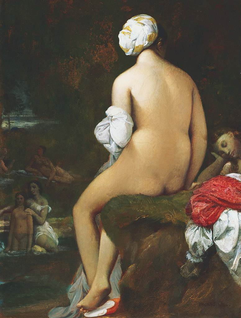 油絵 油彩画 絵画 複製画 ドミニク・アングル 浴女 P10サイズ P10号 530x410mm すぐに飾れる豪華額縁付きキャンバス