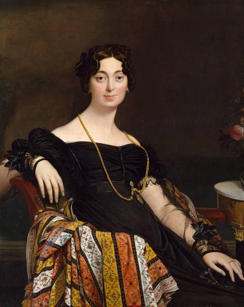 油絵 油彩画 絵画 複製画 ドミニク・アングル ルブラン夫人の肖像 F10サイズ F10号 530x455mm すぐに飾れる豪華額縁付きキャンバス