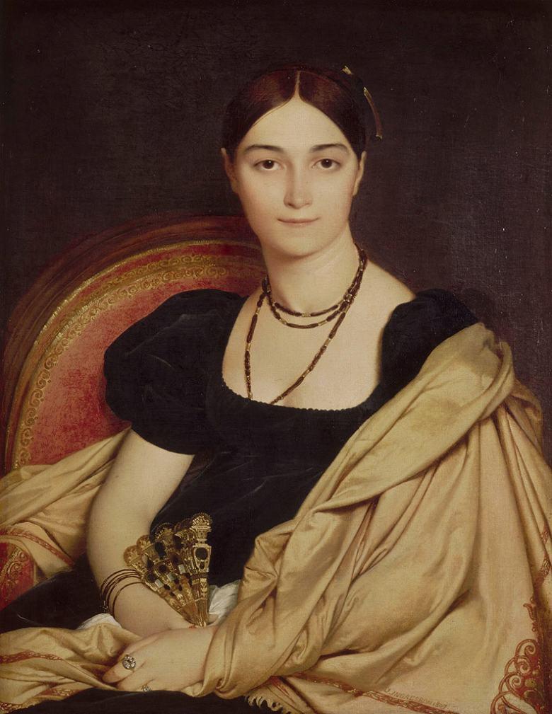 絵画 インテリア 額入り 壁掛け複製油絵ドミニク・アングル ドヴォーセ夫人の肖像 F15サイズ F15号 652x530mm 油彩画 複製画 選べる額縁 選べるサイズ