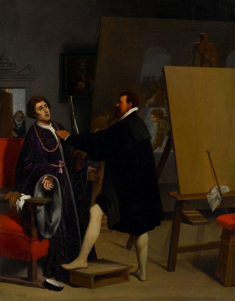 絵画 インテリア 額入り 壁掛け複製油絵ドミニク・アングル ティントレットのアトリエにいるピエトロ・アレティーノ F20サイズ F20号 727x606mm 絵画 インテリア 額入り 壁掛け 油絵