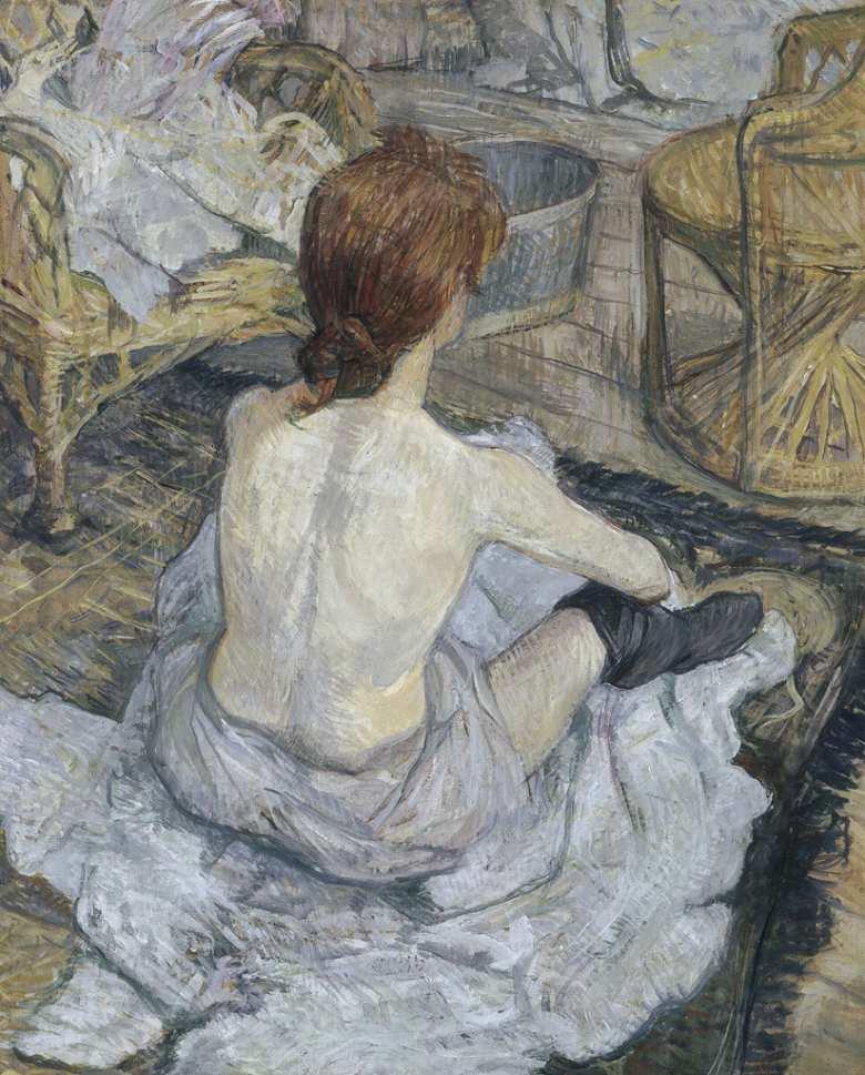 油絵 油彩画 絵画 複製画 アンリ・ド・トゥールーズ=ロートレック 赤毛の女(身繕い) F10サイズ F10号 530x455mm すぐに飾れる豪華額縁付きキャンバス