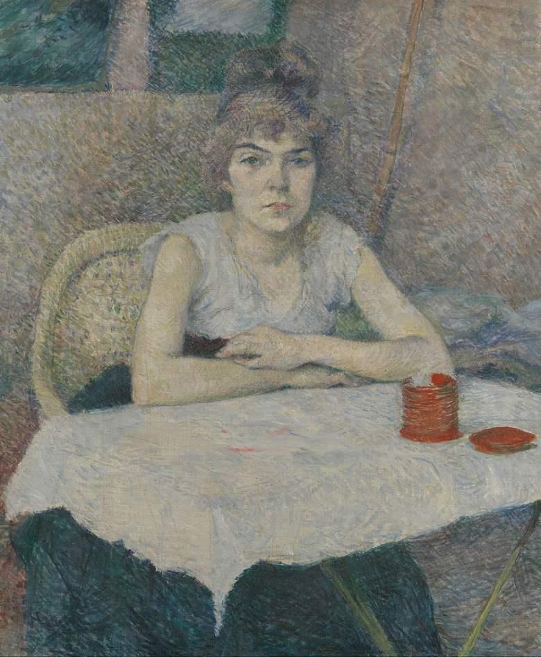 油絵 油彩画 絵画 複製画 アンリ・ド・トゥールーズ=ロートレック テーブルの前の女 F10サイズ F10号 530x455mm すぐに飾れる豪華額縁付きキャンバス
