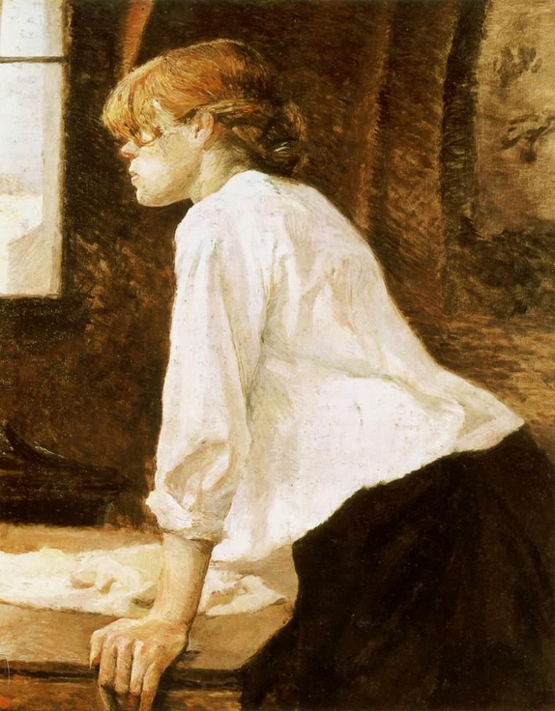 油絵 油彩画 絵画 複製画 アンリ・ド・トゥールーズ=ロートレック 洗濯女 F10サイズ F10号 530x455mm すぐに飾れる豪華額縁付きキャンバス