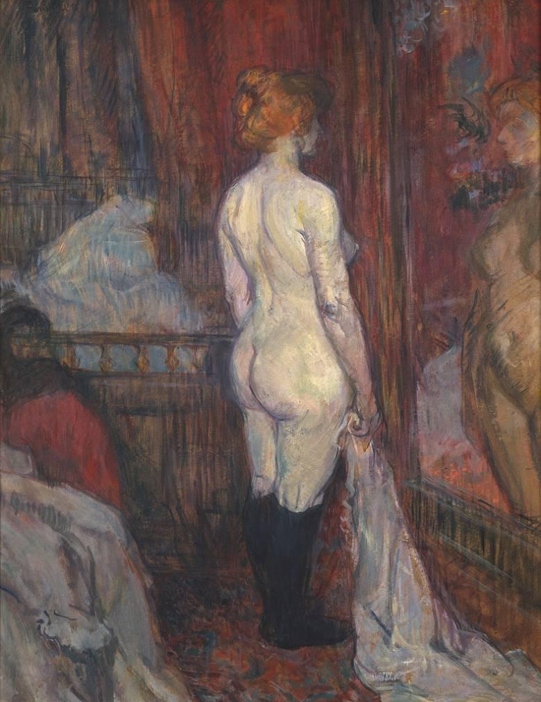 絵画 インテリア 額入り 壁掛け複製油絵アンリ・ド・トゥールーズ=ロートレック 鏡の前の女性 F20サイズ F20号 727x606mm 絵画 インテリア 額入り 壁掛け 油絵